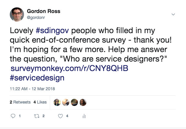 Gordon Ross tweet asking SDinGov conference attendees to fill out survey regarding service designers