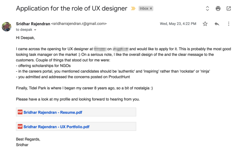 Email to recruiter