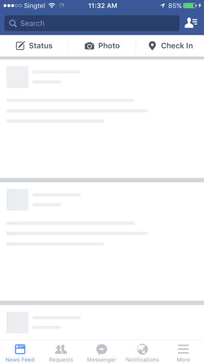 Facebook's skeleton screen loading