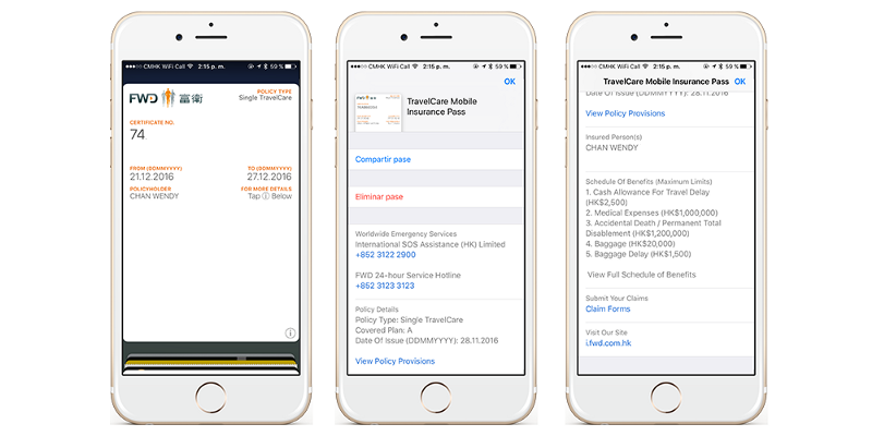 FWD Digital Insurance Policy in Apple Wallet