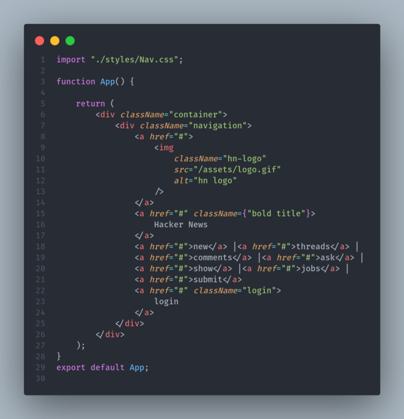 JavaScript Functional Component Example