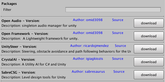 Unity open package manager