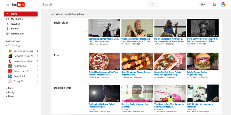 YouTube Homepage redesigned with subscription categories