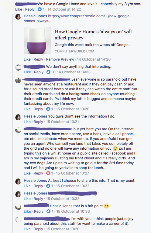 Facebook post Google home privacy information discussion