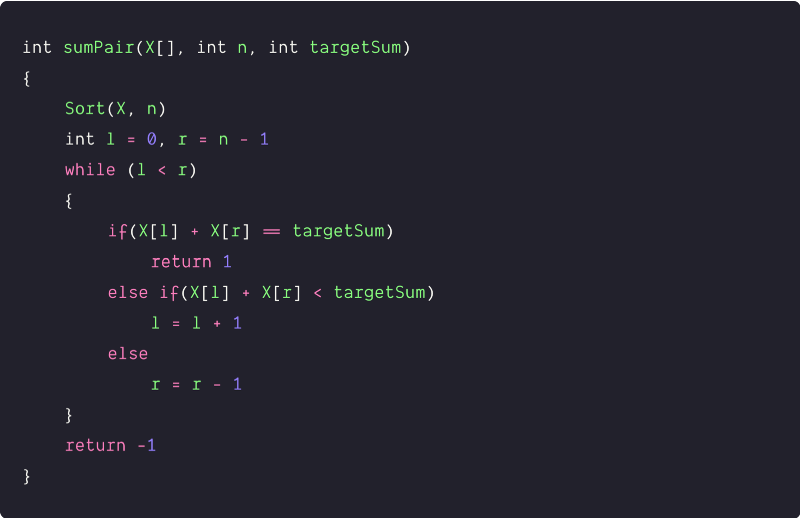 pair in an array with a given sum using two pointers pseudocode