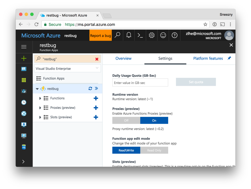 Use Azure Functions Proxies to solve CORS issues