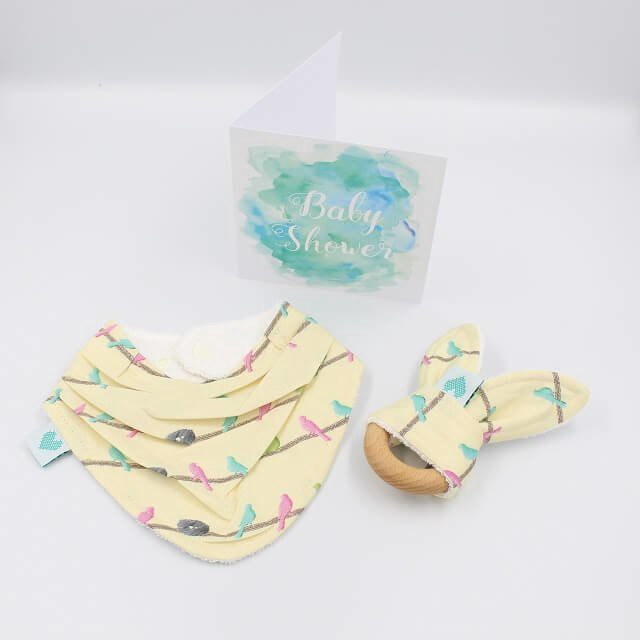 Handmade baby gifts for newborns in birds in perch print