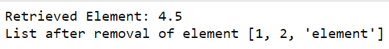 Output after performing pop()