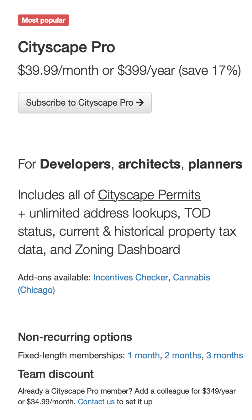 Screenshot of some of the features in the Cityscape Pro membership.