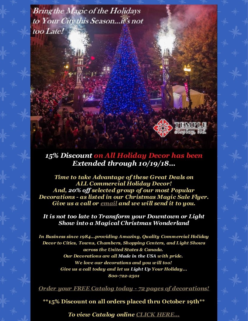 only 2 days left for you to save 15 or more on all commercial christmas decorations from lighted displays to decoration hardware even customdecorations