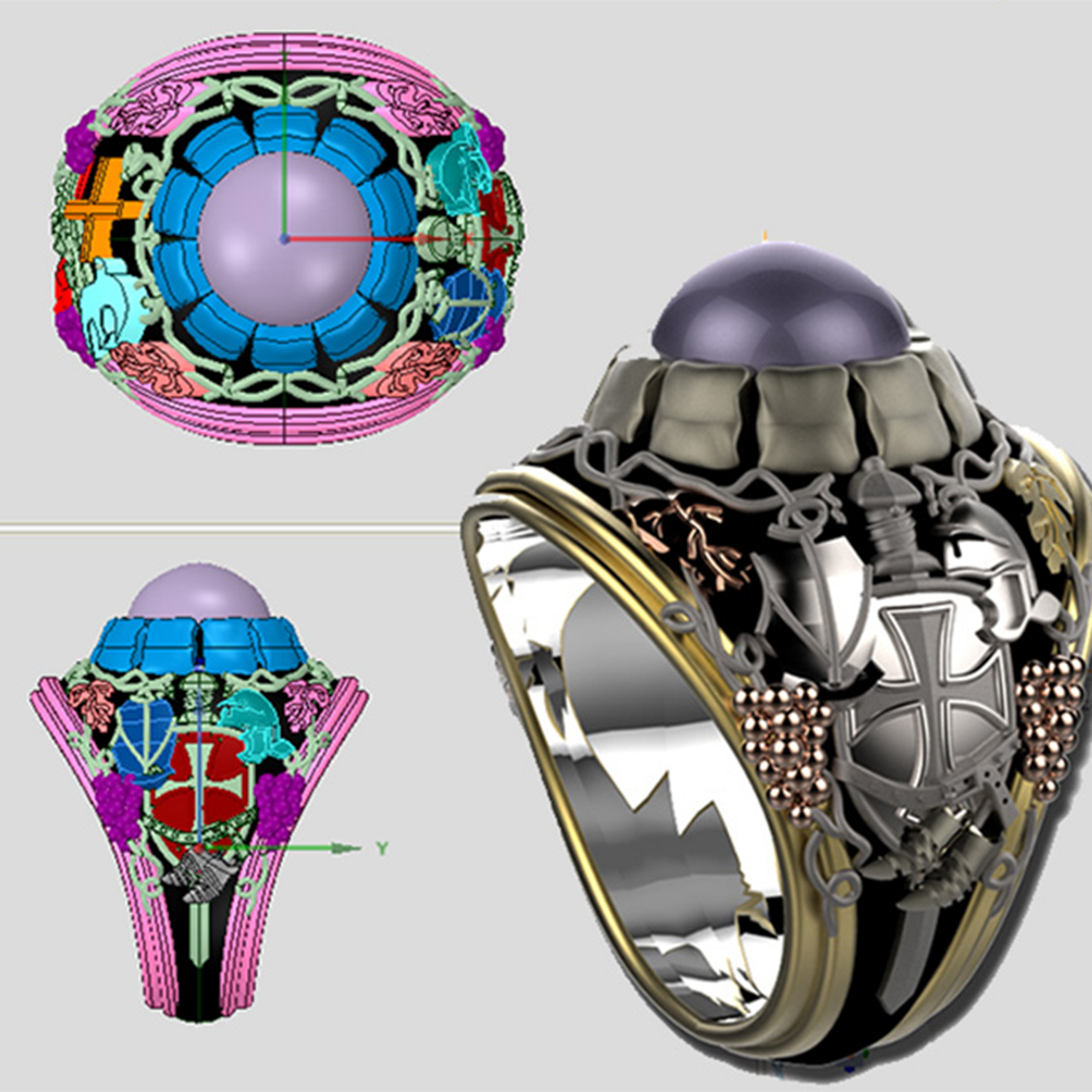 CAD views (left) and final render (right) of a ring