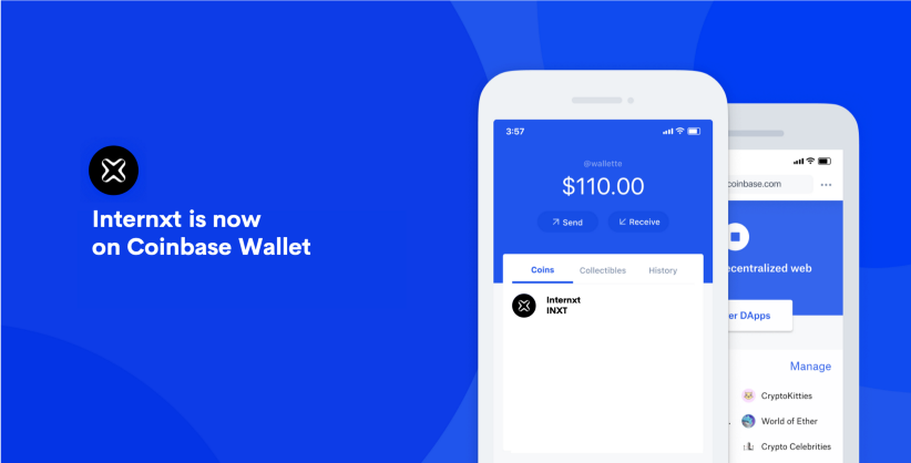 Internxt is now on Coinbase Wallet