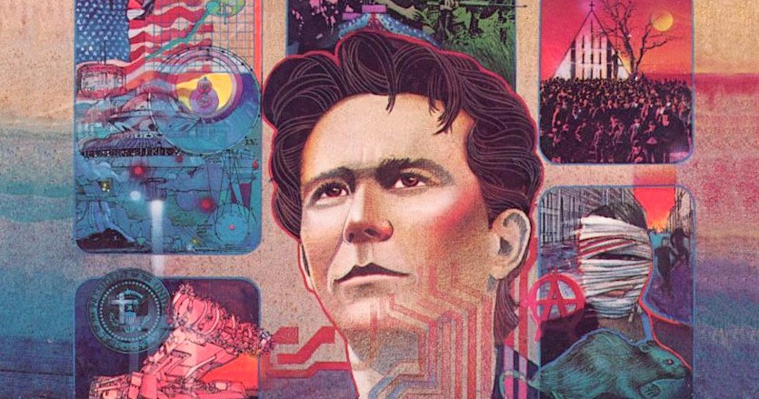 """Cropped cover art from Infocom's """"A Mind Forever Voyaging,"""" showing a young man staring into the distance surrounded by windows showing glimpses into various futures."""