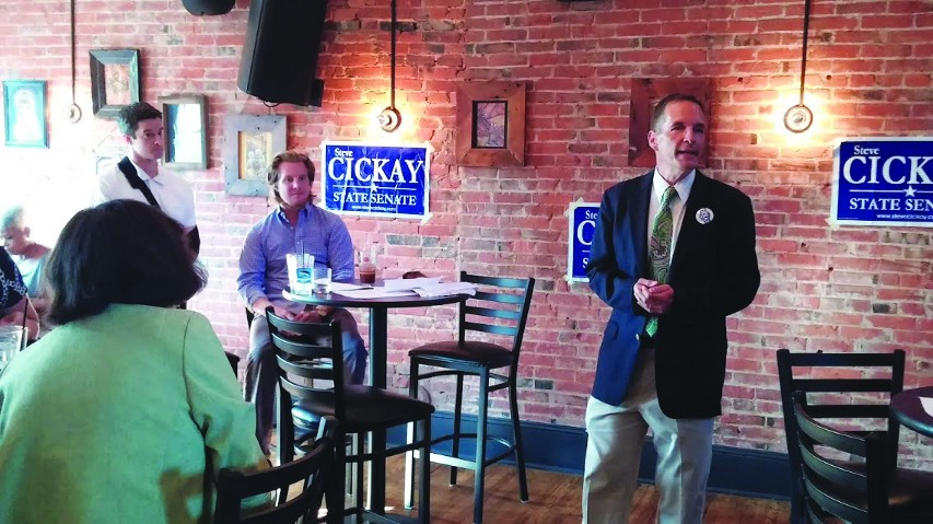 JACK FIRNENO / WIRE PHOTO 10th state Senate district candidate Steve Cickay spoke at a fundraiser in Doylestown last Thursday. Despite pressure to bow out of the race, he's committed to challenging inumbent Chuck McIlhinney in November.