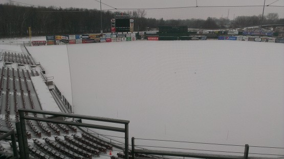 A fresh coat of snow on the field today.