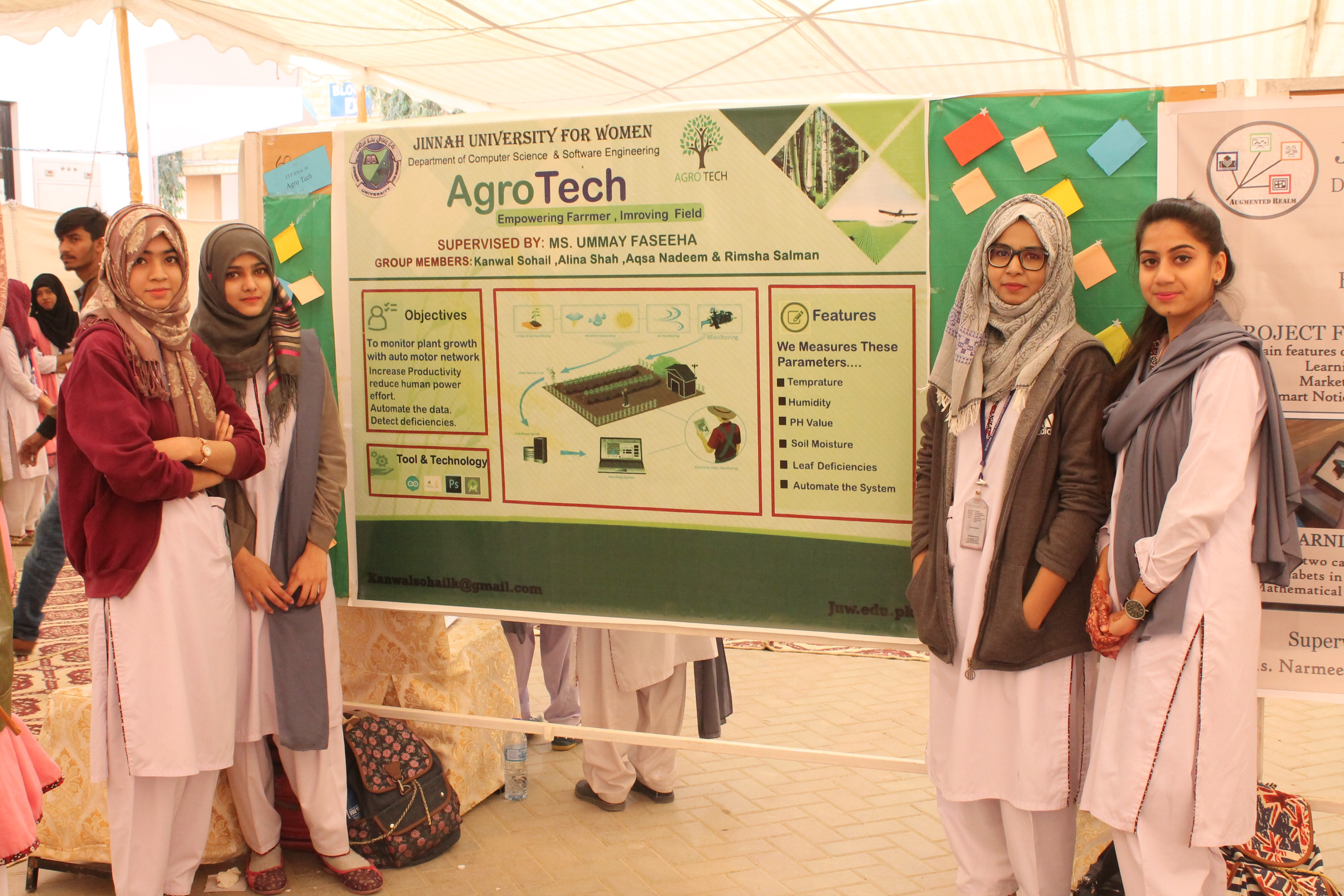 Stalls of [Folio3 Pvt Ltd](http://www.folio3.com/) (Job Fair), [Dronaid](https://www.youtube.com/watch?v=nIcfxTVbpX8) (Project Compeition) and AgroTech (Poster Competition)