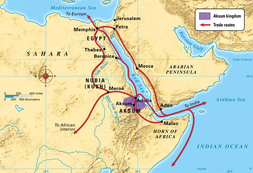 The Kingdom of Aksum, and the vital trade routes it controlled between 300–700 CE