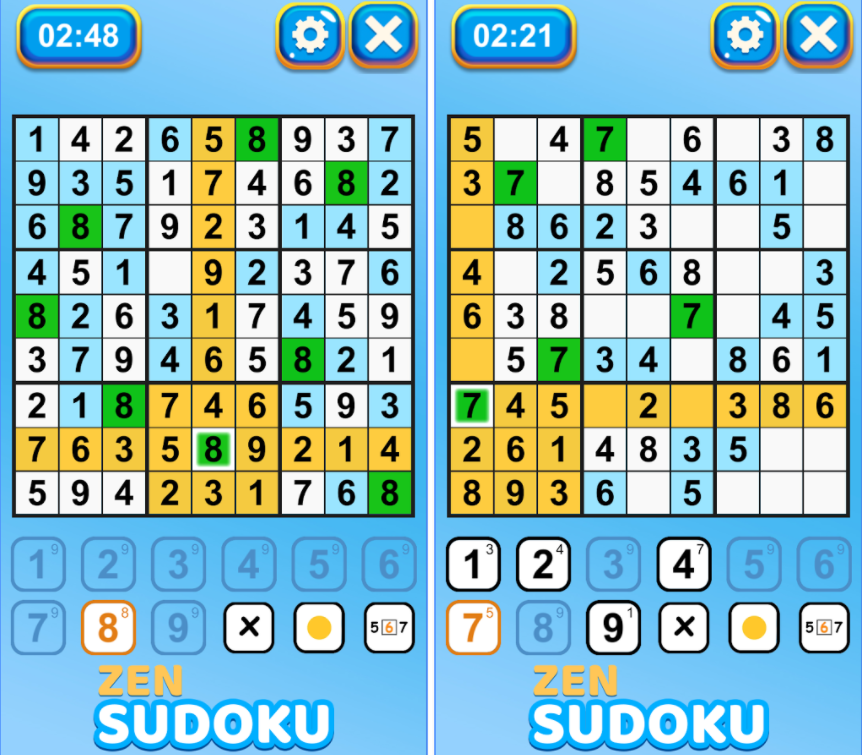 Zen Sudoku Game 9x9 Puzzles — One of the Best Sudoku Puzzle Games