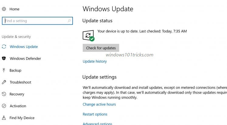schedule windows 10 home update downloads