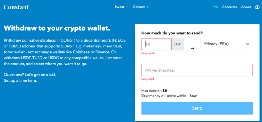 Enter how much you want to withdraw and your PRV wallet address