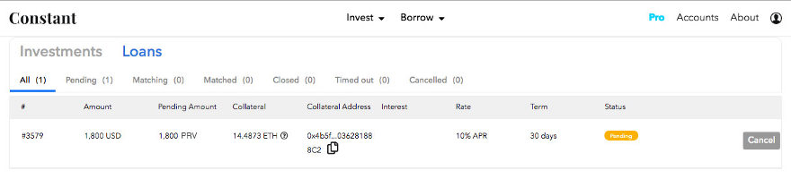 Keep track of your loans in the accounts tab