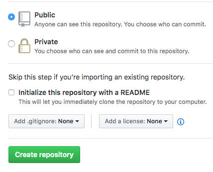 screenshot of Github setting when you create a new repository showing my settings