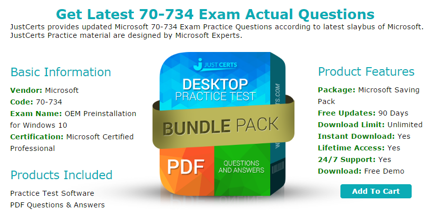 Up To Date Microsoft 70 734 Exam Questions Practice Tests
