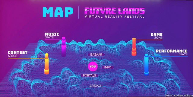 Map of FUTVRE LANDS, a virtual reality festival in High Fidelity's open source platform.