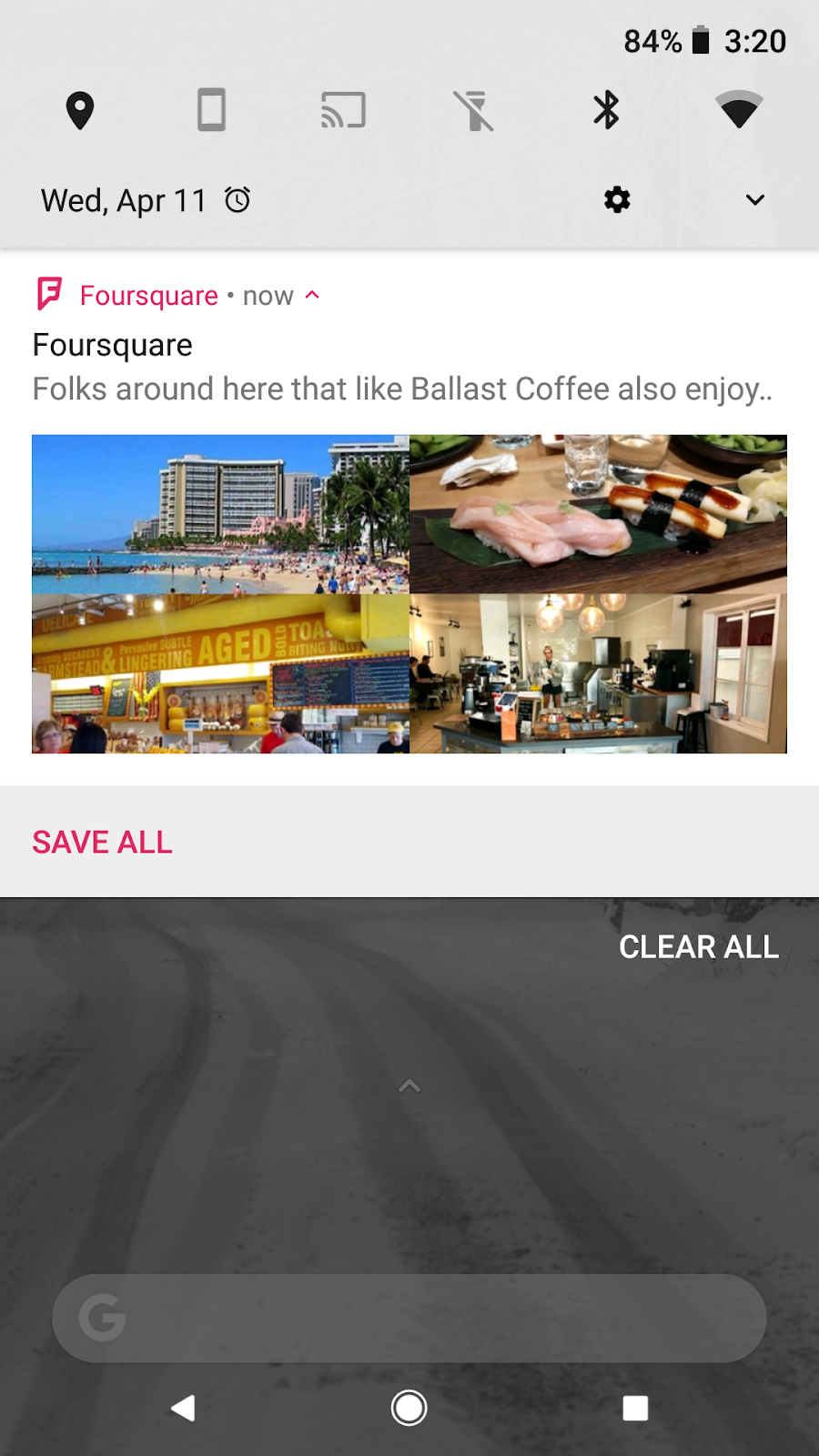 Foursquare notification on phone for recommendations