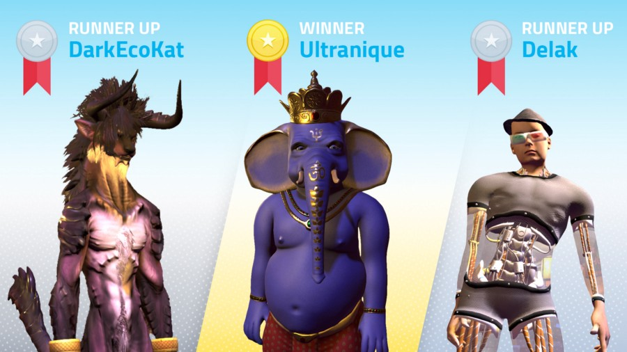 3D avatars that won $500 in High Fidelity Coin in the 3D avatar contest.