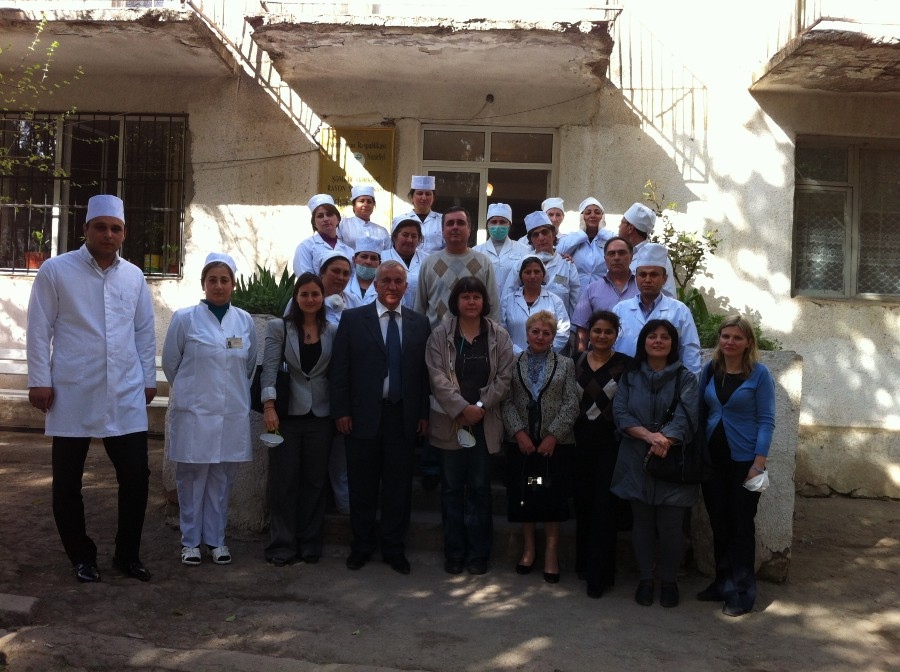 USAID and WHO staff visit a TB hospital in Azerbaijan in April 2012. (USAID)