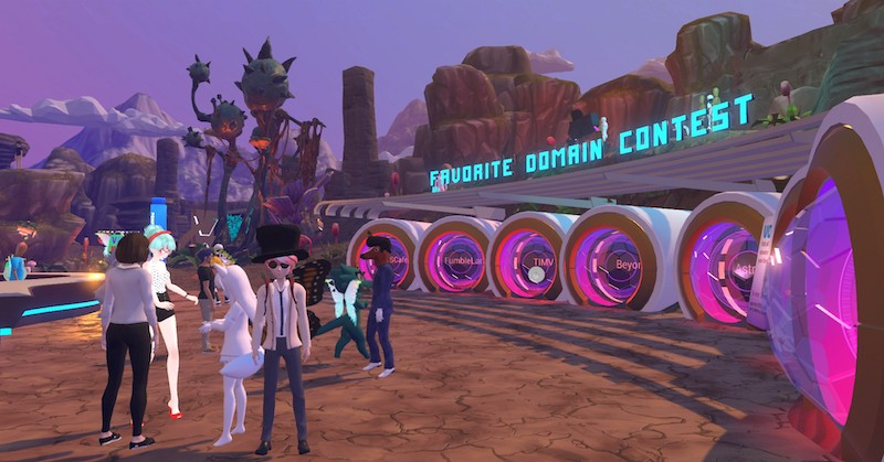 Attendees of VR Festival in High Fidelity could use portals to visit 3D domains on the platform.