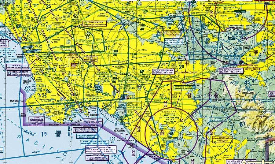 Los Angeles Terminal Area Chart Showing Class B C D E And G Aire Boundaries