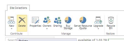 delete a site collection in SharePoint Online.