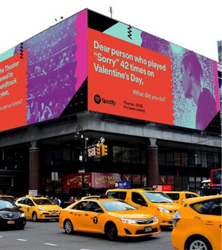 A billboard in New York featuring a message to Spotify listeners