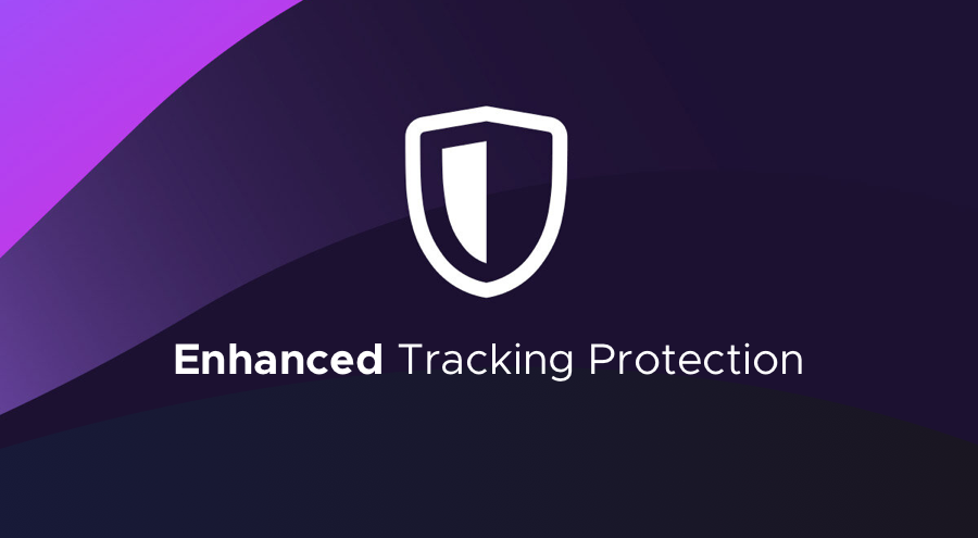 """Image of a shield on purple background with the words """"Enhanced Tracking Protection."""""""