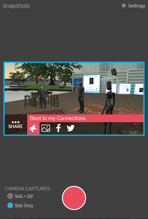 Take pictures to share via social media with your connections in High Fidelity's VR platform.