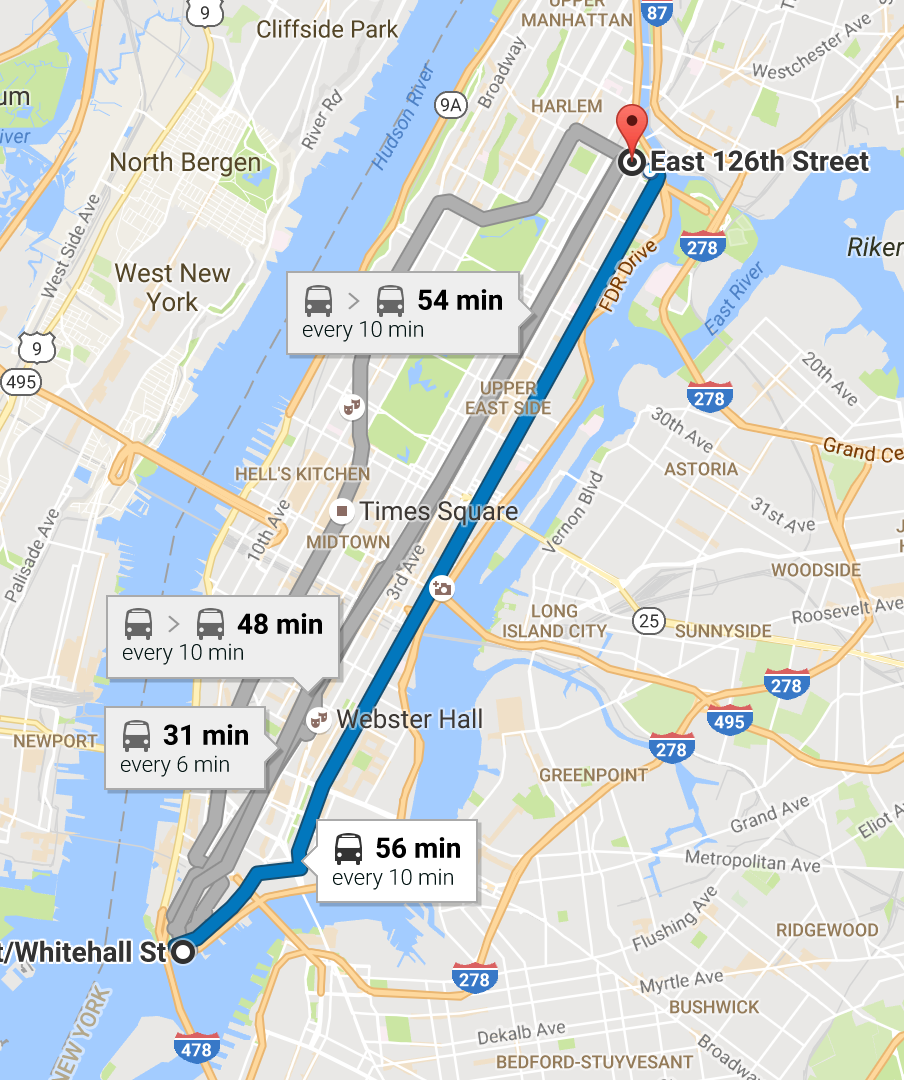 M15 Bus Route On Google Maps
