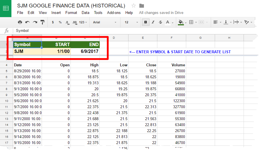 Microsoft Excel Basic Powerquery Stock Price Data From Google Sheets