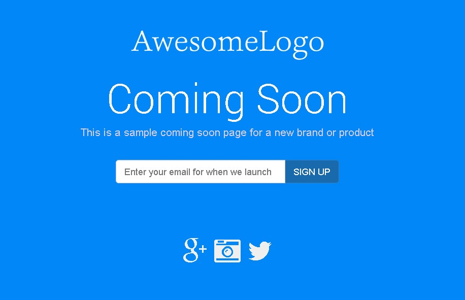 coming soon page example template and demo by bumpup