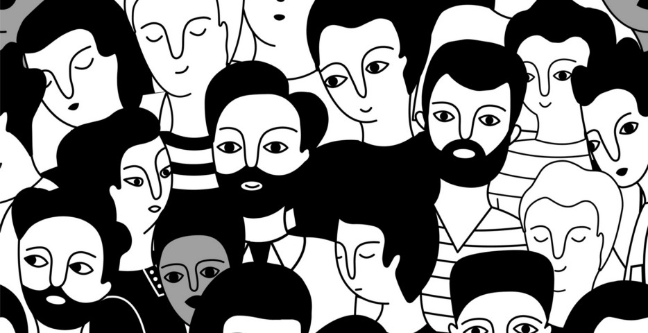 seamless line drawing of people of different genders, age and ethnicities