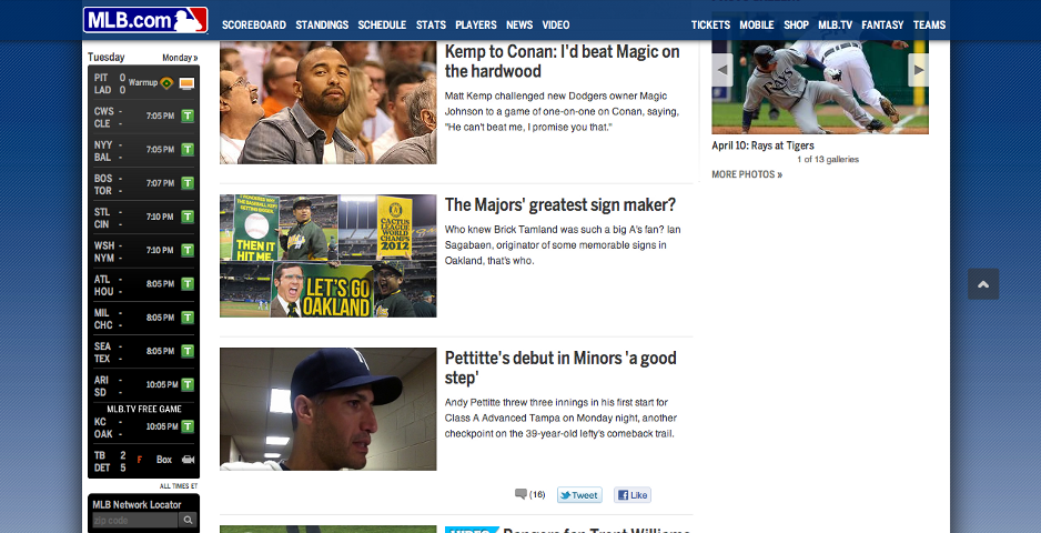 MLB.com front page, April 10, 2012