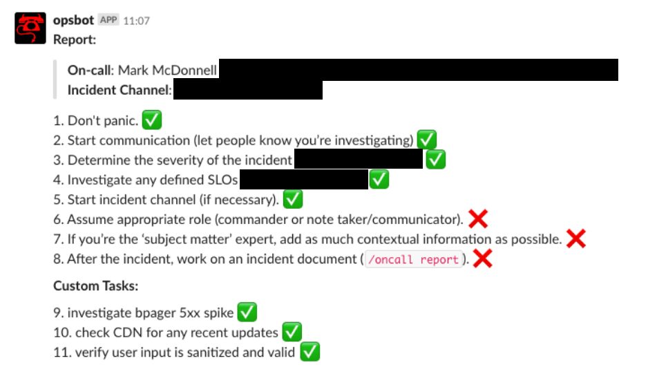Screenshot of an automated checklist in slack showing steps for an active incident.