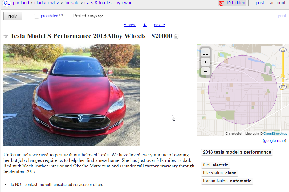 Tesla Scam On Craigslist — a How-To Guide – Peder Halseide – Medium