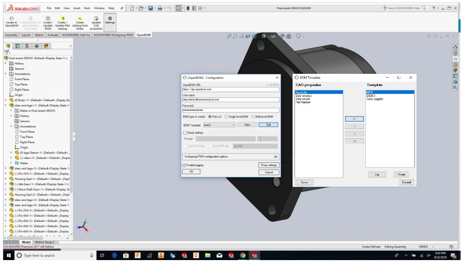Solidworks Bom Bill Of Materials Template Manager For Openbom Plug In
