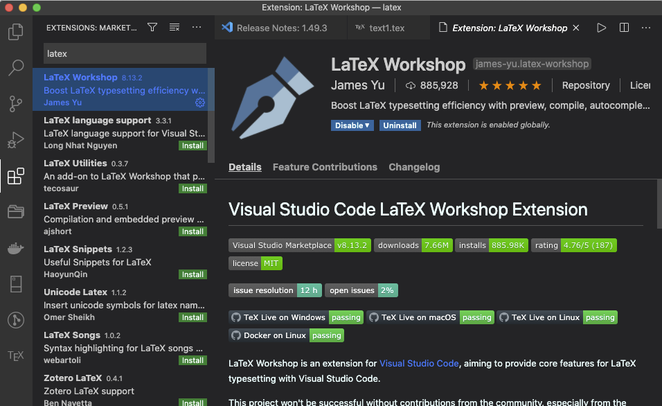 LaTeX Workshop extension for VS Code