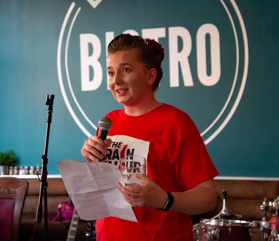 Angela giving a talk for The Brain Tumour Charity