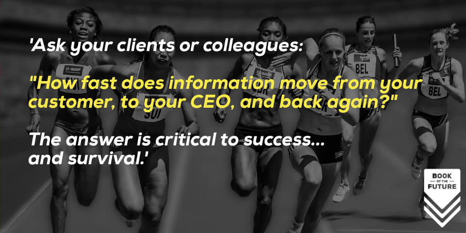 """'Ask your clients or colleagues: """"How fast does information move from your customer, to your CEO, and back again?"""" The answer is critical to success... and survival.'"""