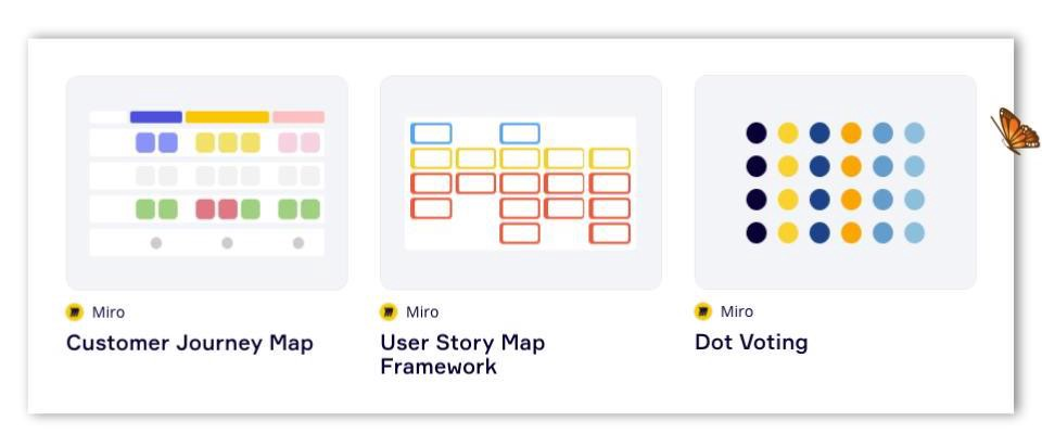 Thumbnails of example templates available from Miro's online library
