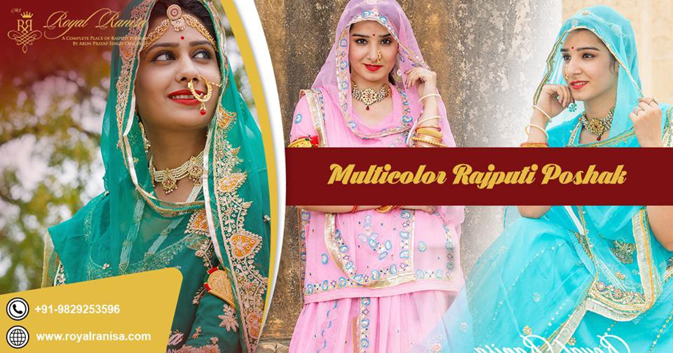 Royal Ranisa In Jaipur Provides A New Design Of Rajputi Poshak Nowadays The Heavy Red Bridal Is Very Famous Women Which Do Not Belong To